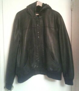 Bass /& Co Faux-Leather-Sleeve Coat Small Black G.h