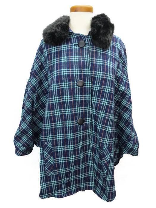 Maison Jules Womens Coat Poncho bluee Plaid 1 Size Faux Fur Collar