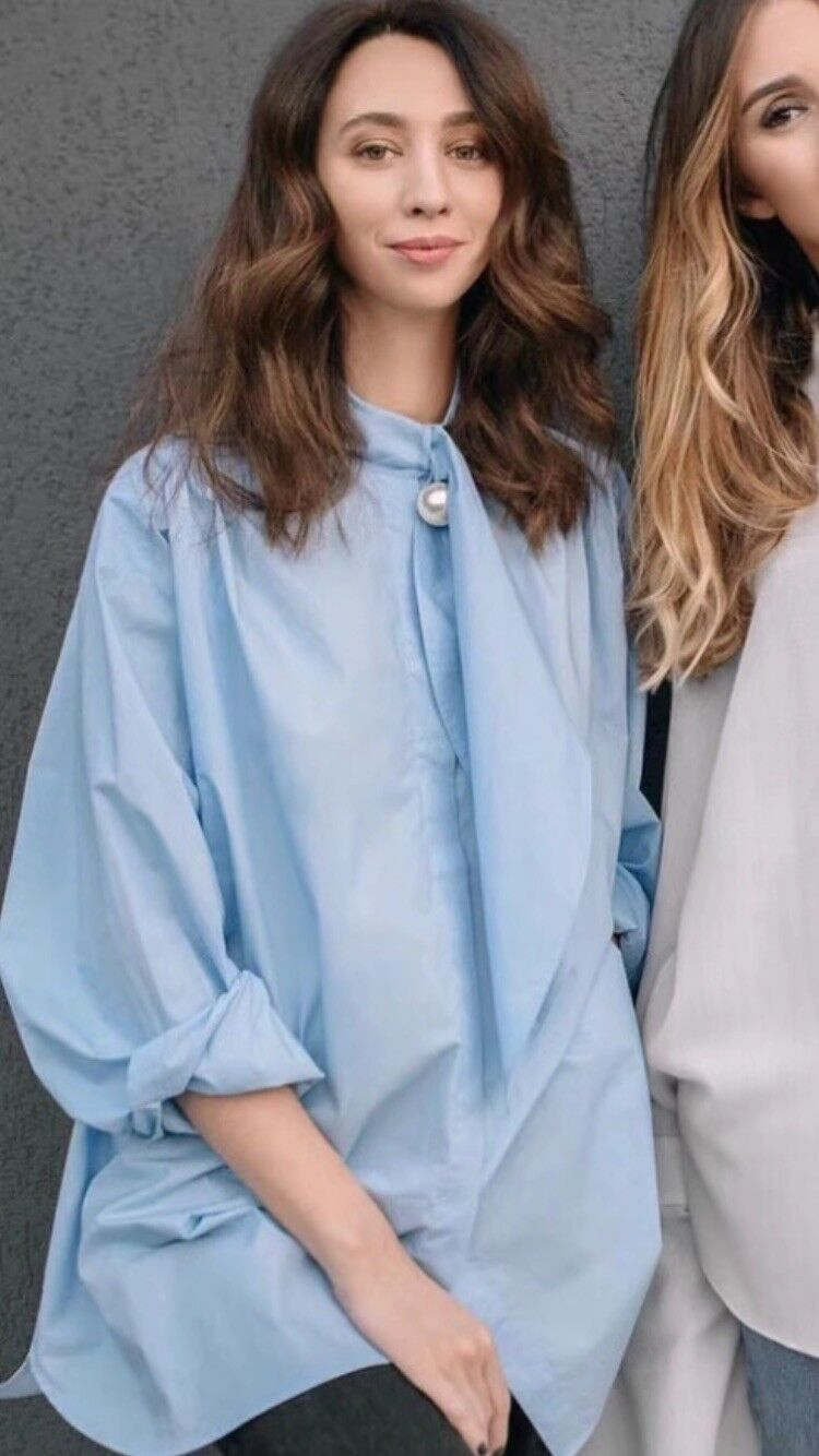 "damen's Pearl Neck Tie ""Loose Fit"" Blouse Shirt Größe XL, Blau"