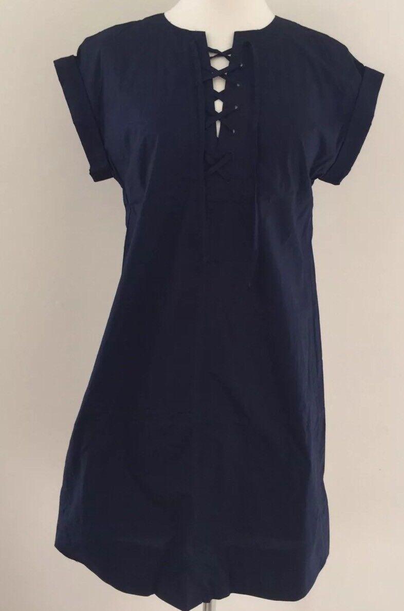 NEW Jcrew Lace Up Cotton ShirtDress NAVY G5359 SUMMER 2017 M