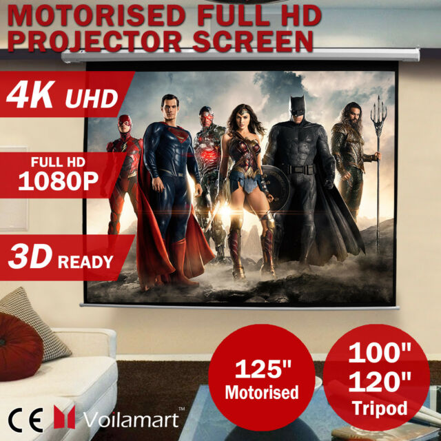 """100""""120""""125""""Projector Screen Portable Tripod Stand Electric Motorised Projection"""