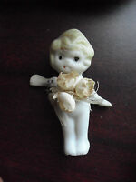 """Vintage 1920s Japan Bisque Flapper Girl Jointed Arms Doll 2 1/2"""" Tall"""