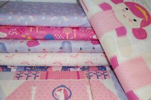 Moda /'Once Upon a Time/' 100/% Cotton Fabric FQ//M /& Doll Panels Unicorn//Princesses