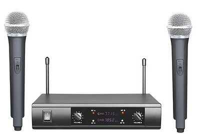 PRO UHF WIRELESS CORDLESS DUAL MICROPHONE SYSTEM FOR SURE WIRELESS