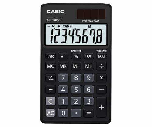 Casio SL-300NC-BK-s Electronic Calculator 10 Digit LCD Tax Time Twin-Power BLACK