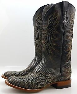 Lucchese-M4546-Mens-Black-Silver-Metallic-Lizard-Western-Cowboy-Boots-With-Inlay