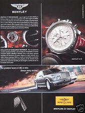 PUBLICITÉ PAPIER MONTRE BREITLING FOR BENTLEY GREATEST LUXURY IN LIFE IS TIME