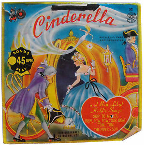 1960-039-s-VINTAGE-VINYL-RECORD-CINDERALLA-BY-CRICKET-45RPM-FULL-CAST-ORCHESTRA