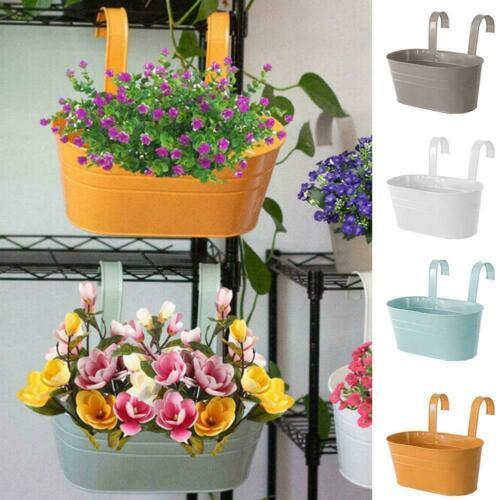Oval Metal Plant Flower Pots Fence Balcony Garden Hanging Planter Pot Decor N0C6