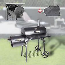 XL Profi Smoker BBQ Grill Grillwagen Holzkohle 1,5mm Stahl Lokomotive + Haube