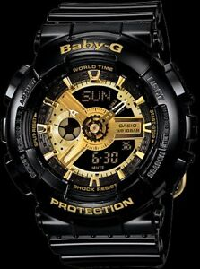 d4fb59f274b Casio Baby G Shock BA110-1A Black and Gold Women s Watch New With ...