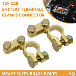 Auto-Car-Replacement-Battery-Connector-Terminal-Clamp-Clips-Screw-Brass-New-2Pcs