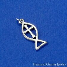 Silver CHRISTIAN ICHTHUS FISH with CROSS Religious CHARM PENDANT