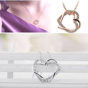 Wunderschoene-Halskette-mit-Zwei-verliebt-Herz-Form-Anhaenger-mit-funkelnd-Diamant