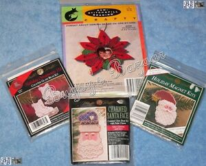 Lot-of-4-Mill-Hill-and-Stitch-amp-Fill-Counted-Glass-Bead-Christmas-Kits