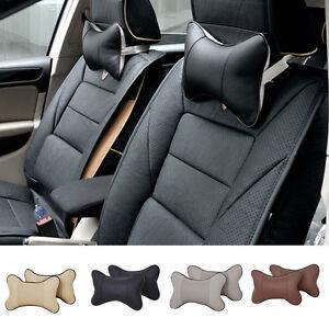 Car-Auto-Seat-Head-Neck-Rest-Leather-Cushion-Pad-HeadRest-Bone-Pillow-4-Colors