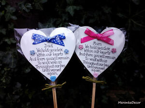 Memorial-heart-Mum-Dad-Grave-Ornament-Personalised-Plaque-Pink-Blue-Fathers-Day