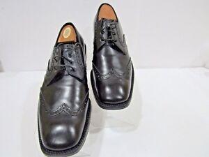 921d35554066 Salvatore Ferragamo TRAMEZZA Size 10 D Black Brogue Wing Tip Oxford ...