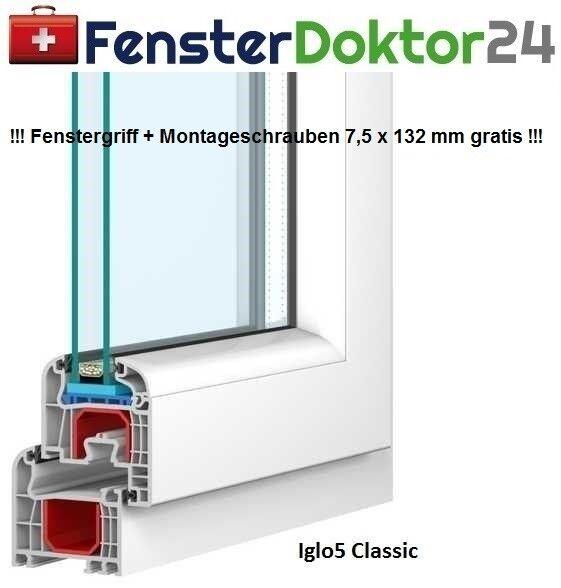 Kunststoff Fenster Breite 1000 mm - 1 Flügel - Kipp mit 2 oder 3fach Glas