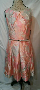 New-JESSICA-HOWARD-Womens-Fit-and-Flare-Dress-Sleeveless-Belted-Size-14