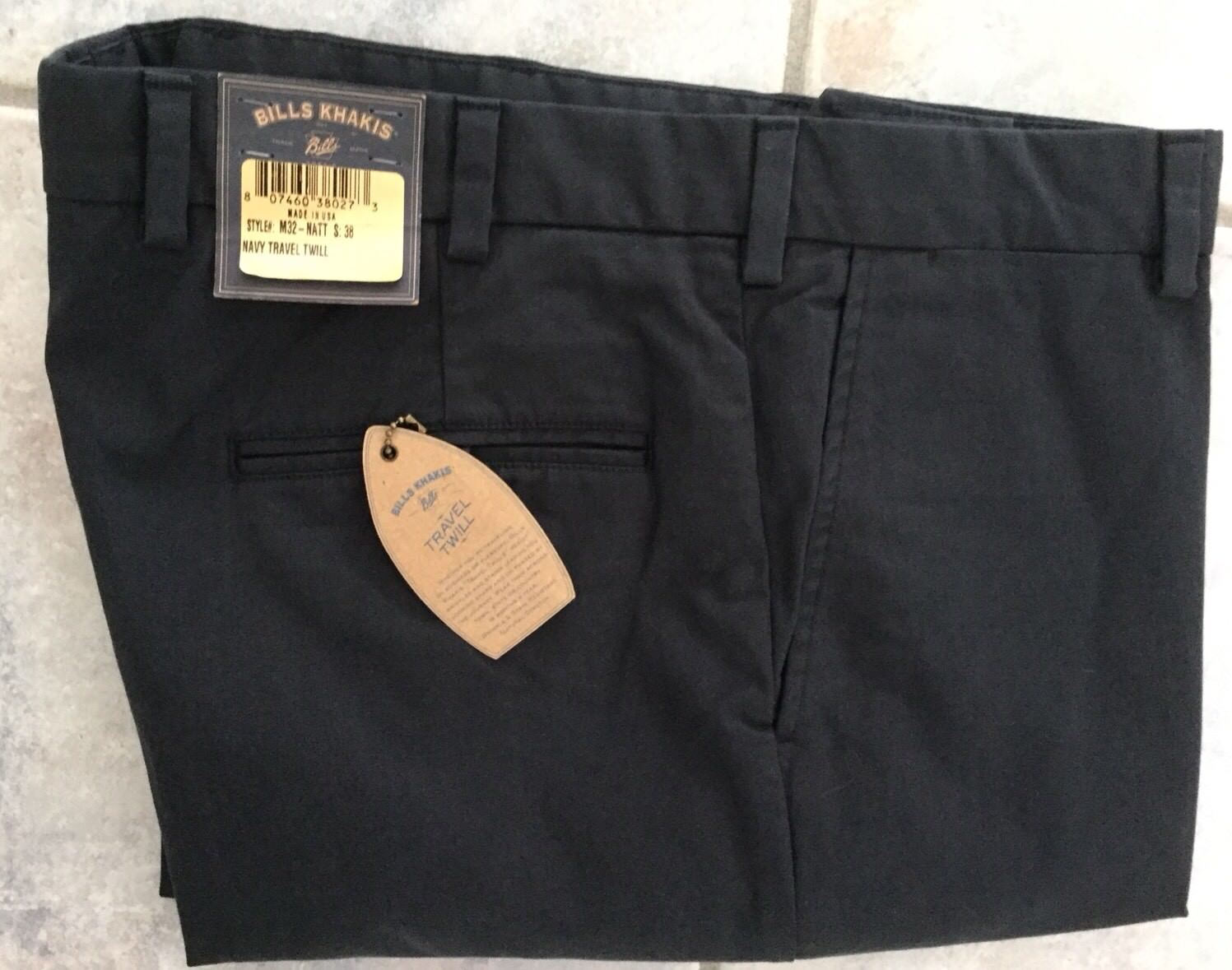 BRAND NEW-Bills khakis M32-NATT SZ 36X32 TRAVEL TWILL  NAVY