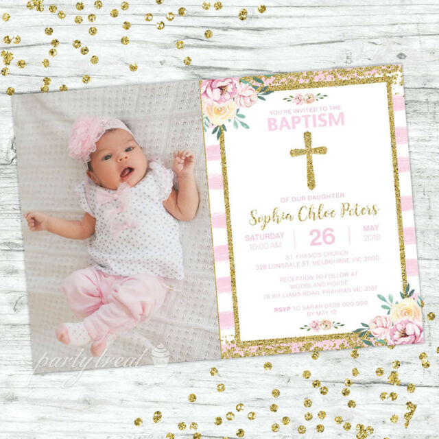 Baptism Invitations Girl Invite Pink Floral Confetti Christening Party Supplies
