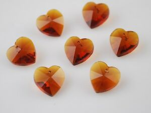 10pcs-14mm-Heart-Faceted-Crystal-Glass-Pendants-Loose-Spacer-Beads-Smoked-Topaz