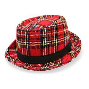 bbae0f99a5b Adult Mens Red Tartan Pork Pie Hat   Heisenberg Checked Plaid ...