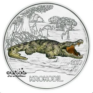 Piece-3-euros-commemorative-AUTRICHE-2017-Le-Crocodile-Piece-phosphorescente