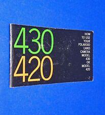 VTG 1970 Polaroid Instant Land Pack Camera 420 430 Instruction Manual Booklet