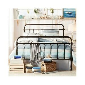 Image Is Loading Queen Size Bed Frame Iron Headboard Footboard Vintage