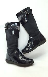 Details zu Melania Mädchen Stiefel Leder Lack Gr 32 blau