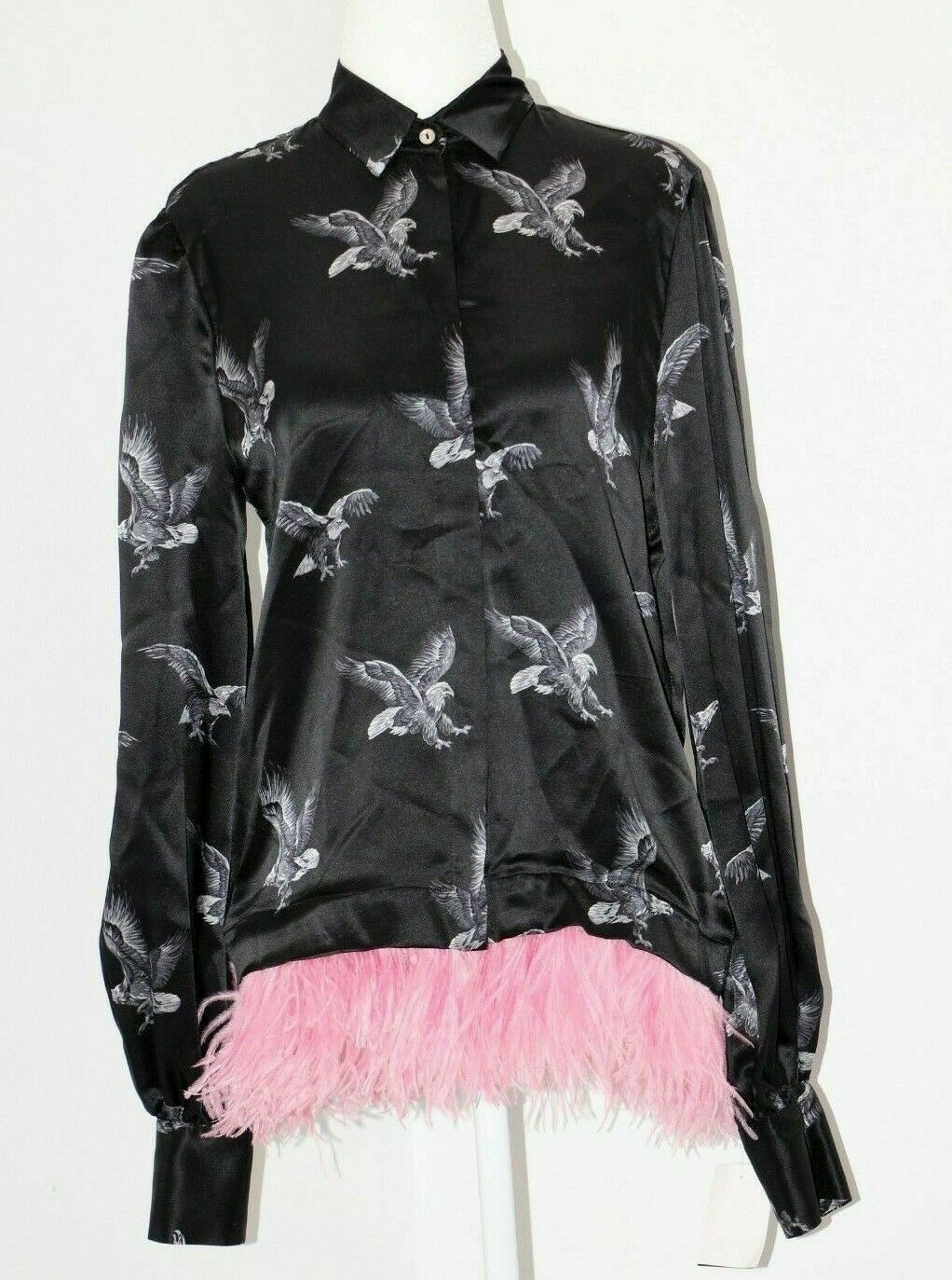 MSGM Eagle Print Feather Trim Silk Shirt Blouse US S   Made in