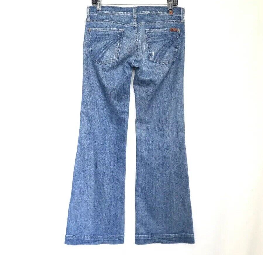 7 For All Mankind Dojo The Lexie Petite Distressed Wide Leg Jeans Größe 28