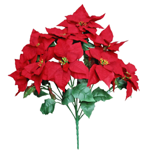 Artificial Christmas Flowers.Details About 9 21 Red Poinsettia Bouquet Artificial Christmas Flower Holiday Decor