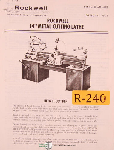Rockwell 14, Maetal Cutting Lathe, Operations Maintenance and Parts Manual 1971