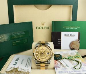ROLEX - 2021 18kt Gold & SS SkyDweller Champagne Index 326933 - Sant Blanc