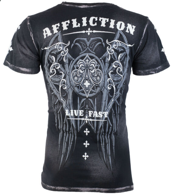 AFFLICTION Mens T-Shirt ROYALE Wings Tattoo Motorcycle Biker MMA UFC Jeans $58