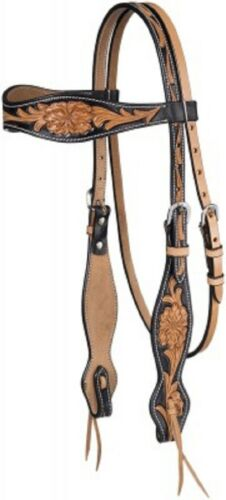 Western Two Tone Leather Hand Carved Brow Band Style headstall