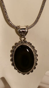 92.5 Sterling Silver Artisan Crafted Black Botswana Agate Pendant Necklace USA