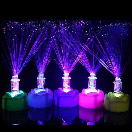 Color Changing LED Fiber Optic Night Light Lamp Stand Home Decor Colorful E/&F