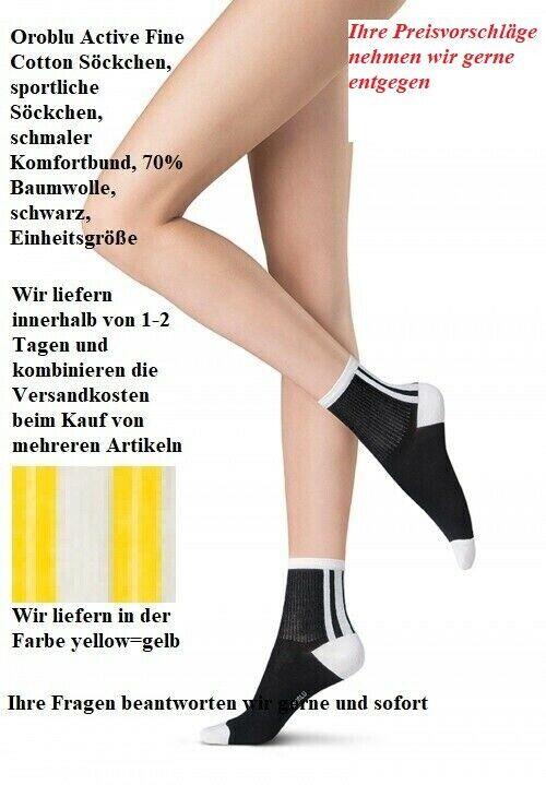 Oroblu Active Feine Baumwolle Söckchen sportlich Komfortbund gelb Einheitsgröße