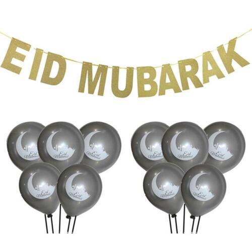 "11X Gold Silver /""Eid Mubarak/"" Balloons /""Hajj Mabrour/"" Latex Party Decor Balloon"
