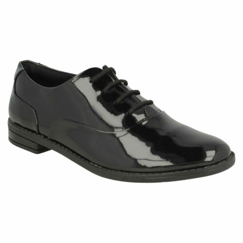 DREW STAR CLARKS GIRLS SENIOR LACE UP LOW HEEL FORMAL PATENT BROGUE SCHOOL SHOES