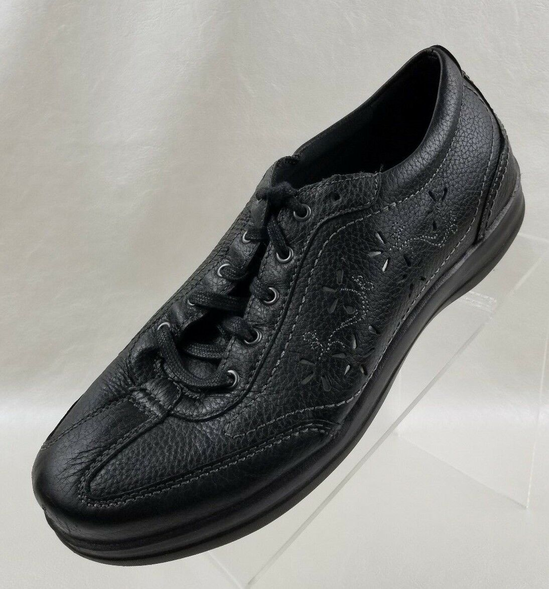 Apex Robyn Oxford Slip Resist Chop Out Womens Black Leather Lace Up shoes Sz 10M