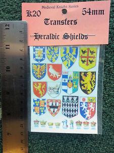 Waterslide-Transfers-Knights-Heraldic-Shields-K20-54mm-Scale-Langley-Decals-Kit