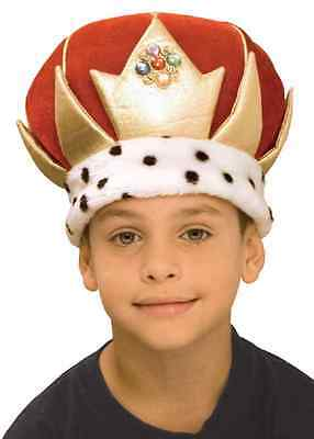 Hot Kings Crown Mens Royalty Costume Royal Plush Hat Jewel Fancy Dress King LE