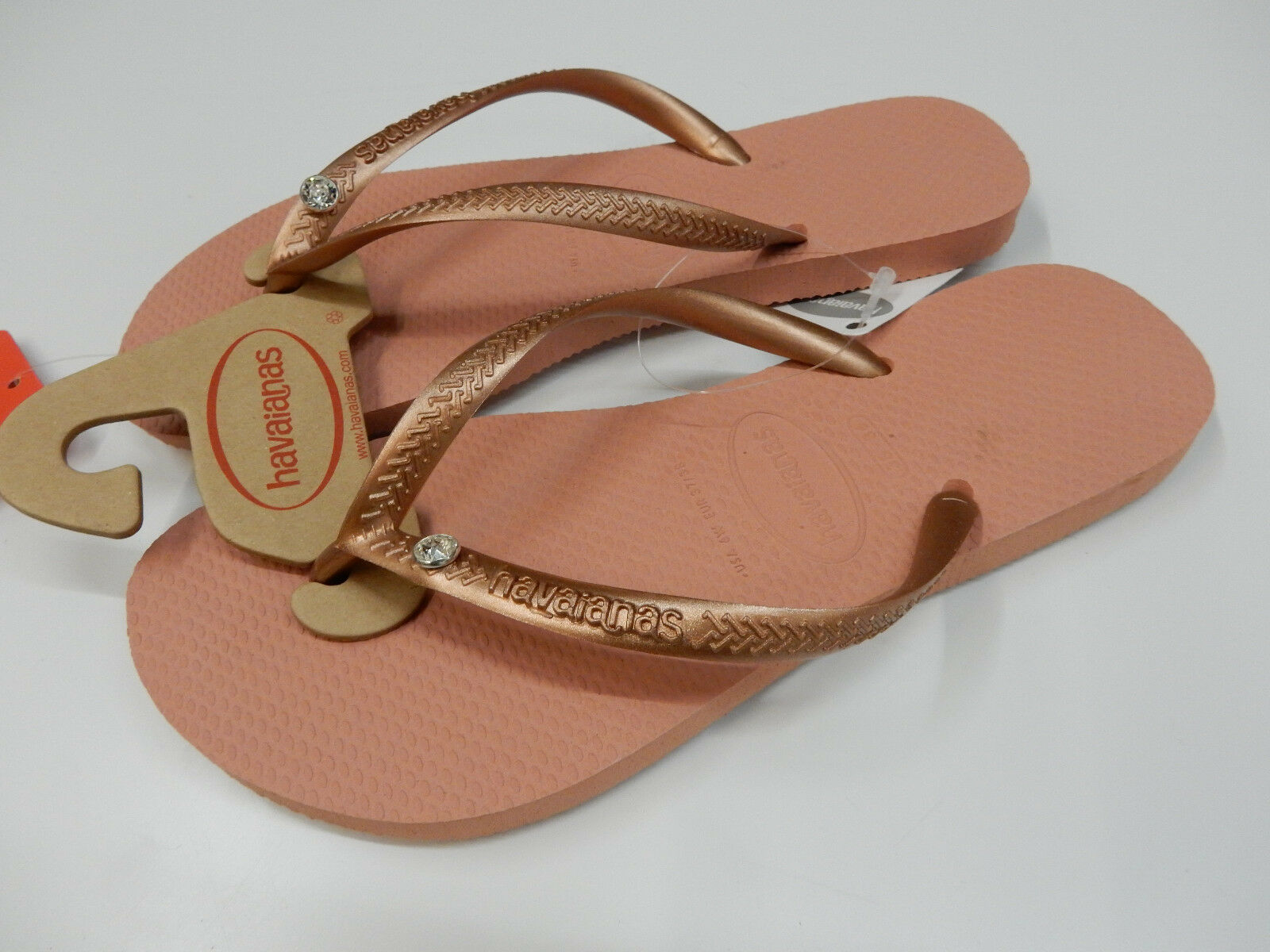Havaianas Womens Slim Crystal Glamour pink Nude Size 7 8