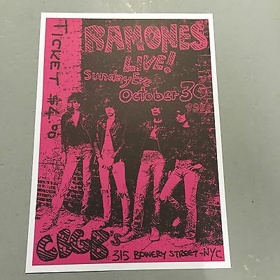 RAMONES - CONCERT POSTER CBGB'S NEW YORK CITY SUNDAY EVE OCTOBER 3OTH  PUNK