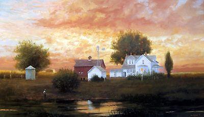 "/""Farm Pond Reflections/"" signed//unsigned 19.75/""h x 36/""w poster Raymond Knaub"